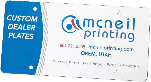 Custom Dealer License Plate Inserts from McNeil Printing